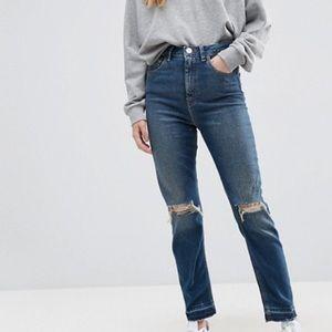 ASOS High Waist Slim Mom Jeans Dark Wash